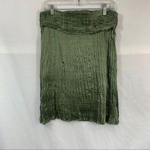 Arden B Olive Crushed Silk Skirt w/ Pleats
